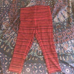 lulu lemon 7/8 crop orange/pink leggings